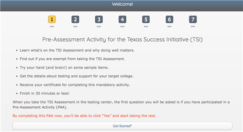 Screenshot of Website where you take the TSI Assessment