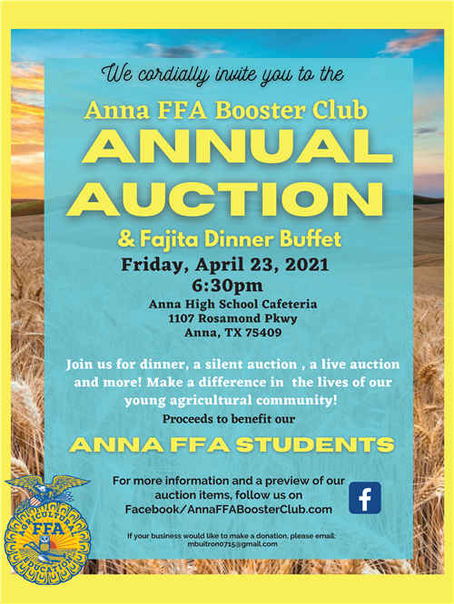 Anna FFA Auction is April 23
